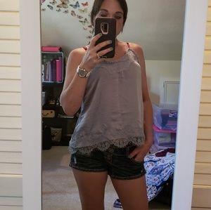 NWOT Light slate blue silk and lace tank
